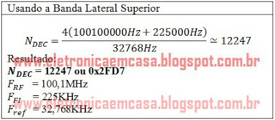 Banda Lateral superior Radio FM com PIC16f876