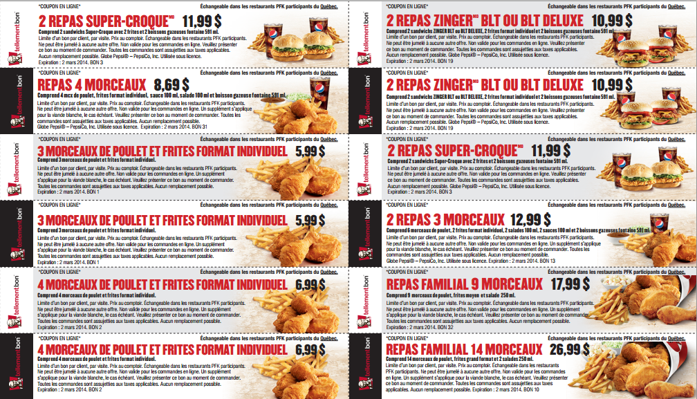 Menu Restaurant Pfk Poulet Frit Kentucky