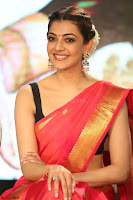 Kajal Aggarwal in Red Saree Sleeveless Black Blouse Choli at Santosham awards 2017 curtain raiser press meet 02.08.2017 042.JPG