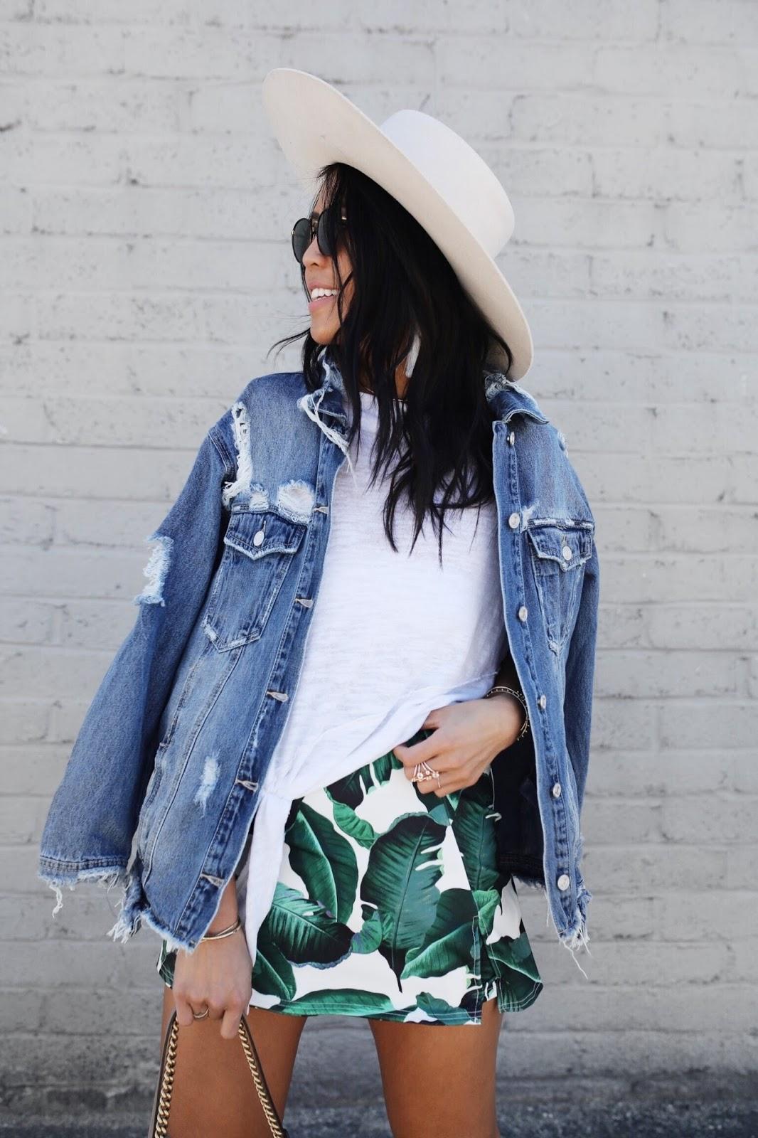 Palm Print Short Skirt