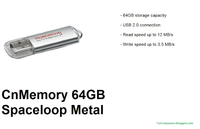 CnMemory 64GB Spaceloop Metal USB 2.0 flash drive price and specs