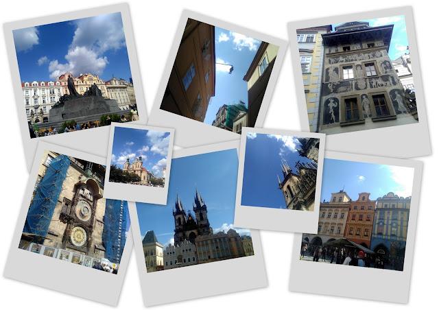 Polaroids prises à Prague en République Tchèque de plusieurs lieux à visiter autour de la place Staromestské namesti