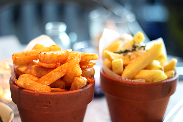 Cowboy fries, honey, chilli, garlic and Roman Fries, parmesan, truffle, rosemary - The Drift Bar, London