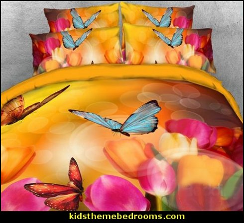 Fragrant Tulips with Colorful Butterflies Printed 4-Piece Bedding Sets