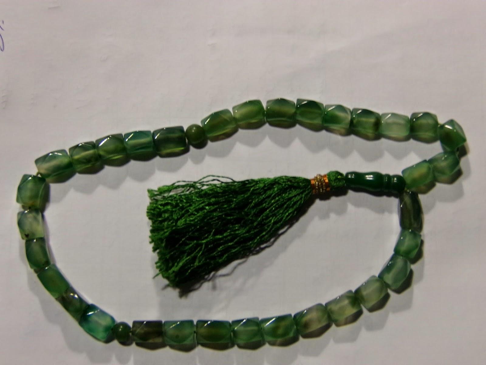 Bismillah Gems Green Agate Tasbeeh