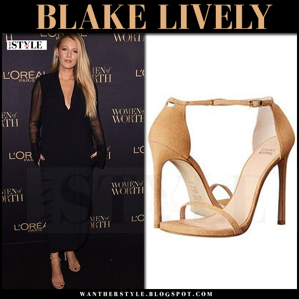 Blake Lively in navy long sleeve lanvin jumpsuit and beige sandals stuart weitzman nudist what she wore