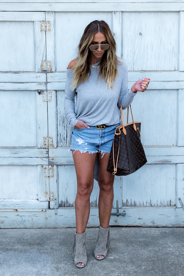 cutoff shorts with sweater fringe booties parlor girl
