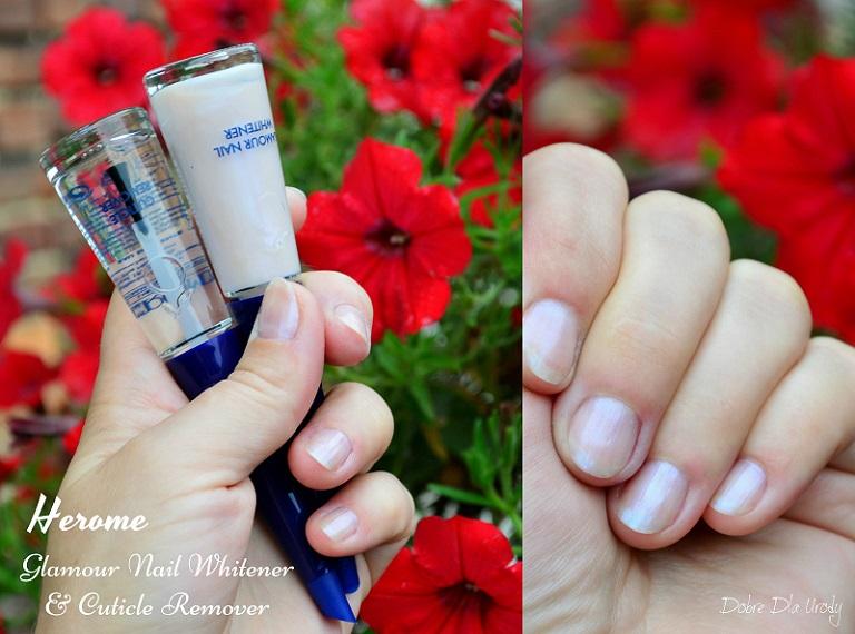 Herome Glamour Nail Whitener wybielacz paznokci oraz Cuticle Remover płyn do usuwania skórek