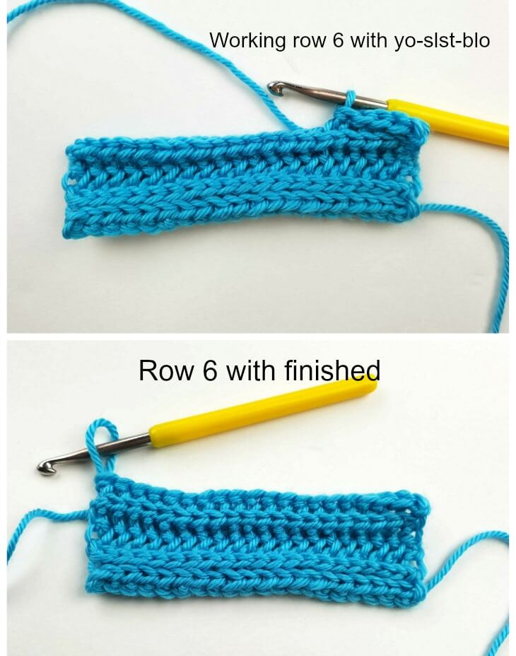 """How to CROCHET: Knit Look Ribbing """"Knit 2, Purl 2"""" in Rows  using the Yarn Over Slip Stitch"""