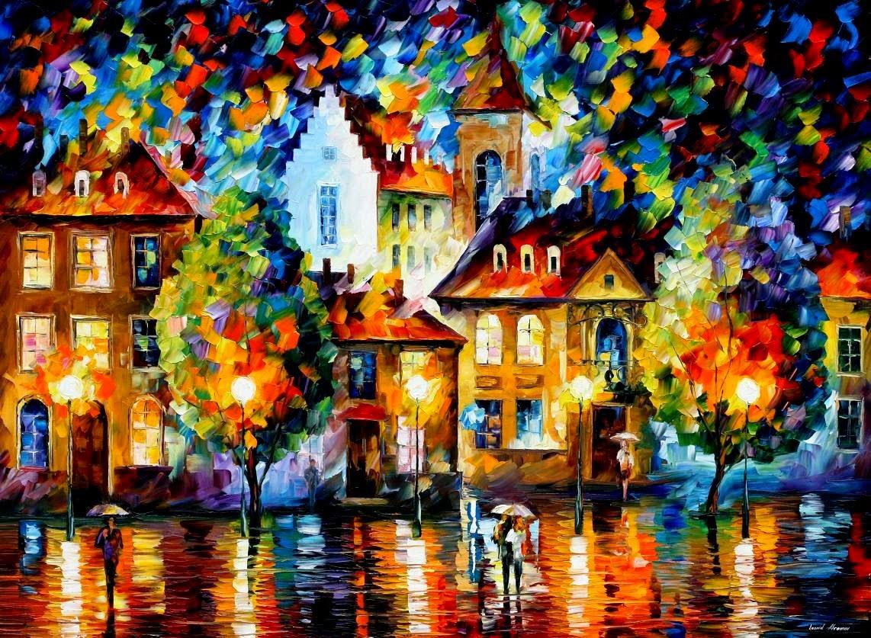 Noite em Luxembeourg - Pinturas de Leonid Afremov | O mestres da  espátula