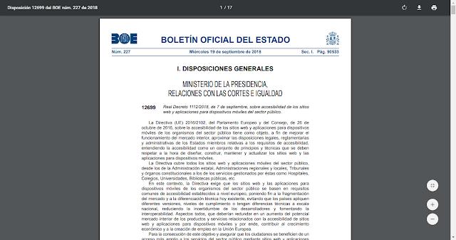 pagina principal del Real Decreto 1112/2018