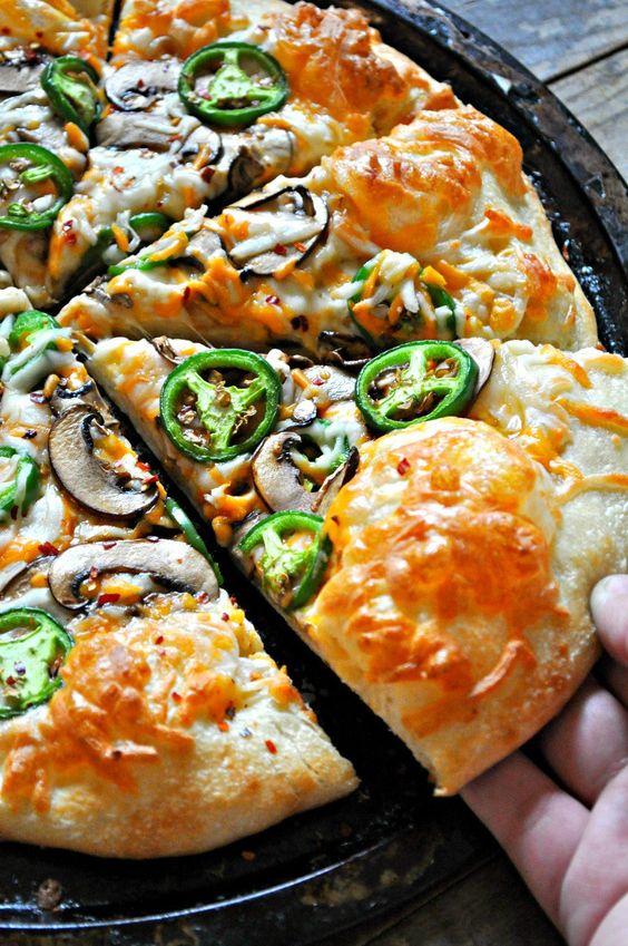 Vegan Jalapeno Popper Pizza - Rabbit and Wolves. Dinner inspiration! Vegan cheeses, mushroom bacon and fresh jalapenos! It's the best!