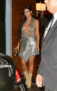 Kim Shines For Kanye Silver Top Disco Dress Miami Saint Pablo