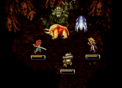 Crono, Robo, and Ayla battle the Imp and his two Mudbeasts, the guardians of the Mountain of Woe