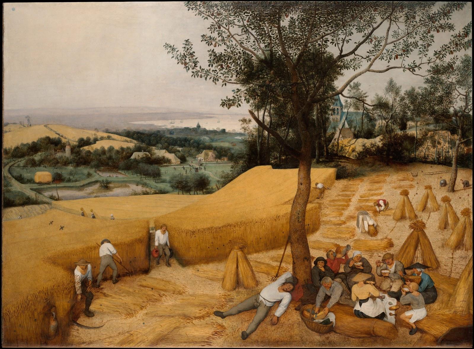 ピーテル・ブリューゲルの穀物の収穫/連作月暦画の八月と九月)