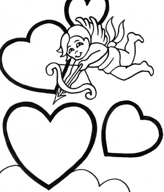 San Valentín colorear cupido