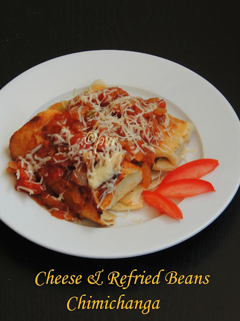 Cheese & refried beans chimichanga