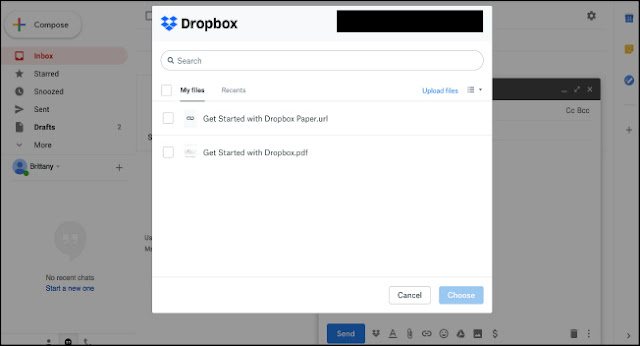 Attach Dropbox files to Gmail