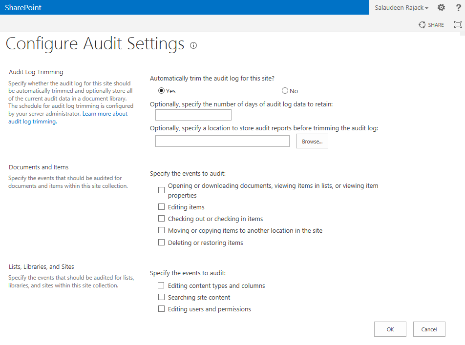 sharepoint 2013 audit settings