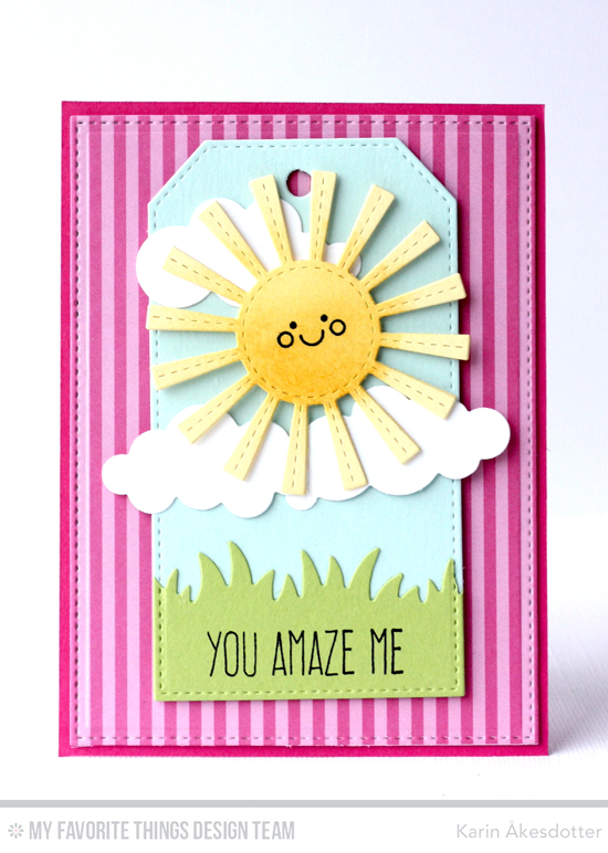 You Amaze Me Card by Karin Åkesdotter featuring Lucky and Lisa Johnson Designs Whimsical Greetings stamp sets, and Puffy Clouds, Sunny Skies, Grassy Fields, Traditional Tags STAX, and Stitched Rectangle STAX Die-namics #mftstamps