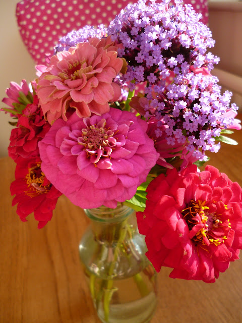 Posy of Zinnia Verbena and Aster Flowers