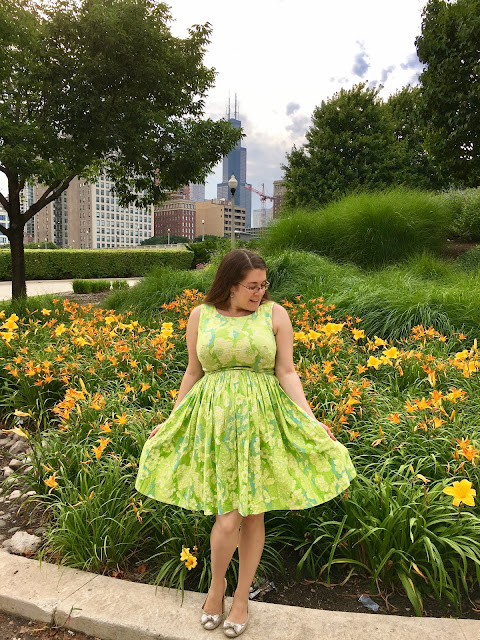 vintage 1960s day dress and sears tower