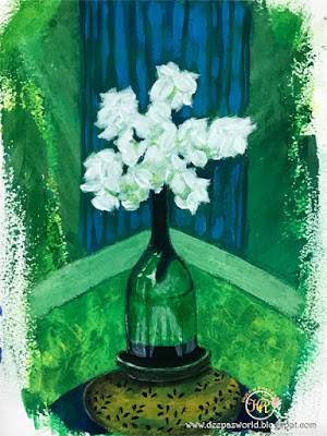 White-Flowers-Glass-Bottle-Gouache-HuesnShades