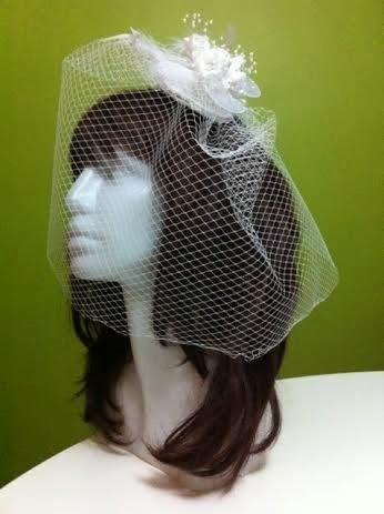 nikah şapkası vualet beyaz kafes tül duvak