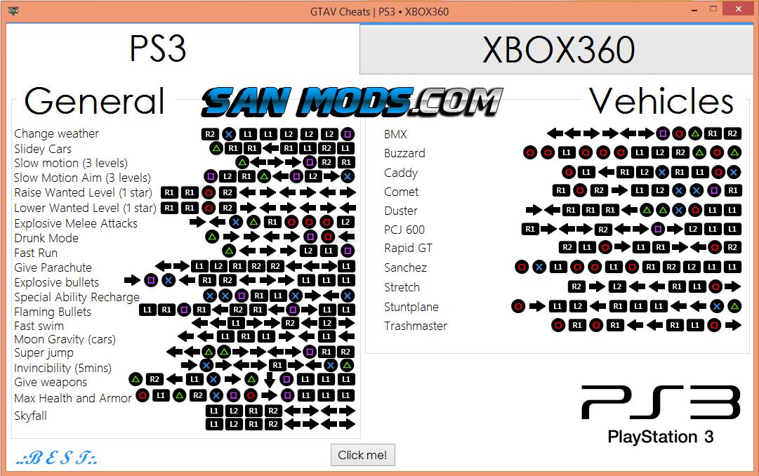 GTA V - Cheats para GTA 5 ( XBOX360 - PS3) - SAN MODS - Mods GTA