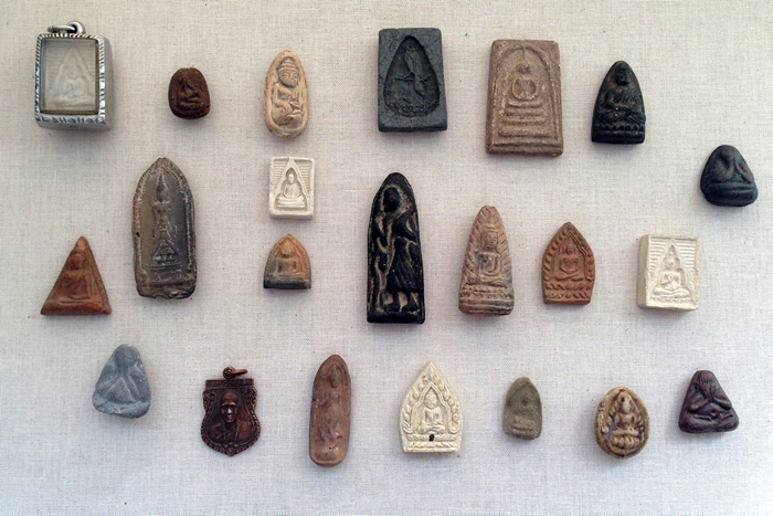 A collection of Thai Buddhist amulets
