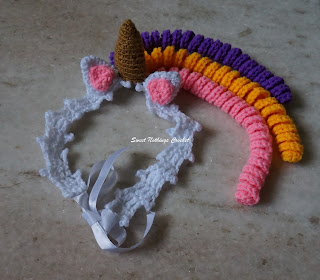 free crochet headband pattern, free crochet unicorn headband pattern