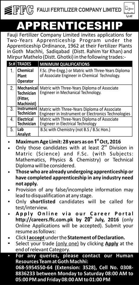 FFC Apprenticeship Jobs Training Program 2016  for DAE