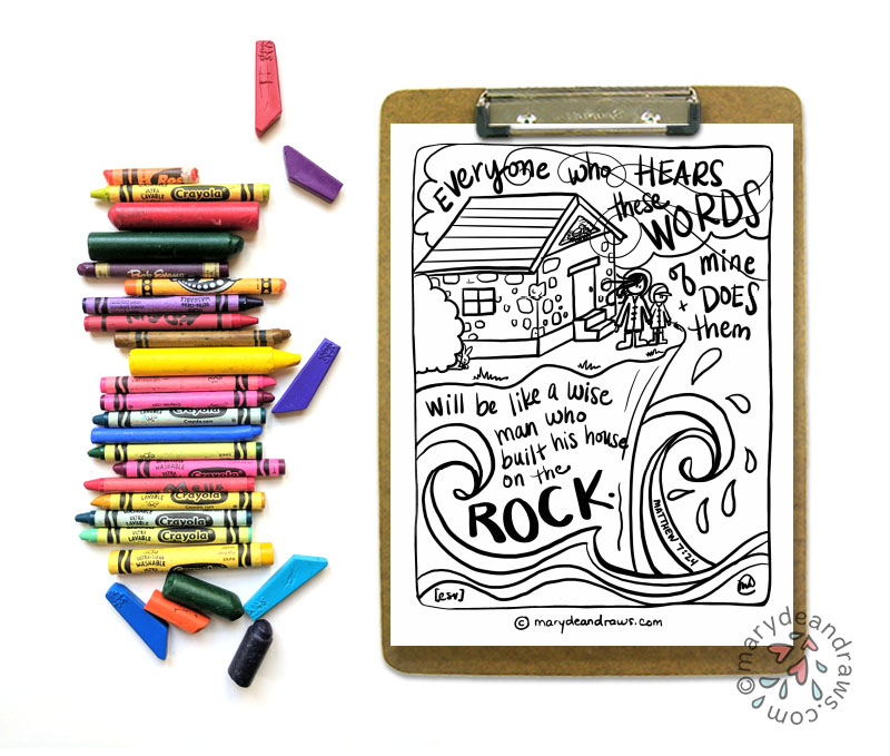 A life on the rock + Matthew 7:24 Bible coloring page in ...