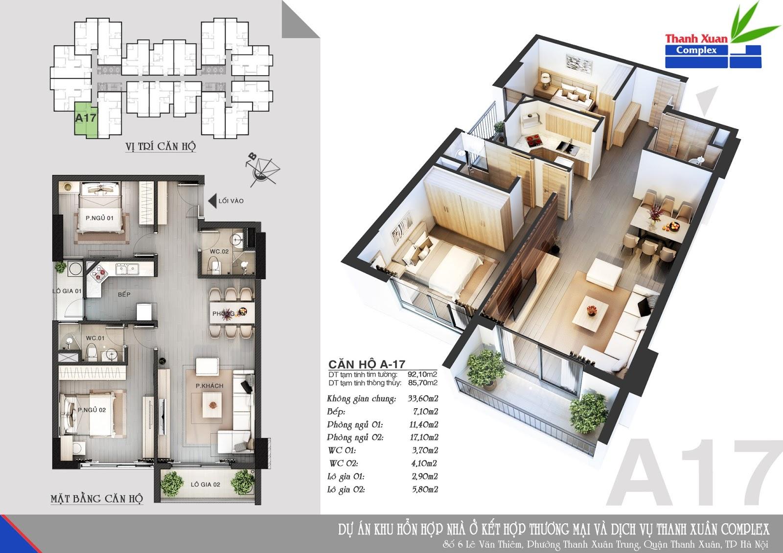 Mặt bằng chung cư thanh Xuân Complex 5