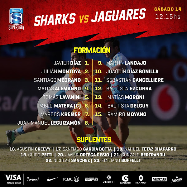 Formación de Jaguares para enfrentar a Sharks #PersonalSuperRugby