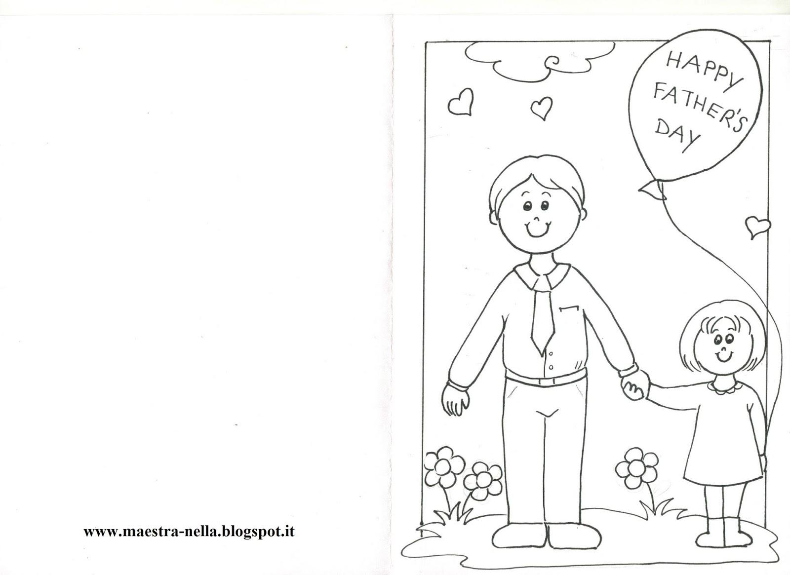 maestra Nella: biglietti da colorare per la festa del pap