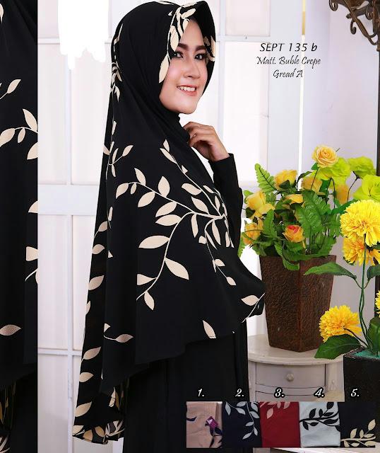 Jilbab lebar warna hitam kain buble crepe