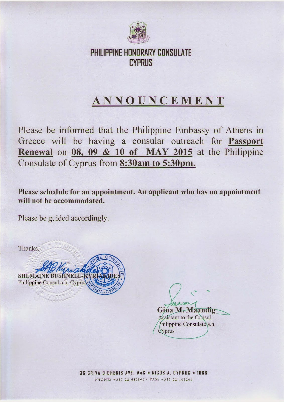 Philippine Consulate Cyprus: Passport Schedule Please Read