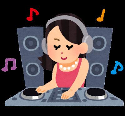 DJのイラスト(CD・女性)