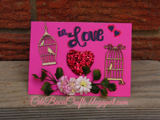 Handmade Valentines Day card shown on CdeBaca Crafts Gallery blog.