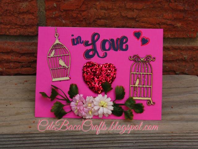 Handmade Valentines Day card shown on CdeBaca Crafts Gallery blog.