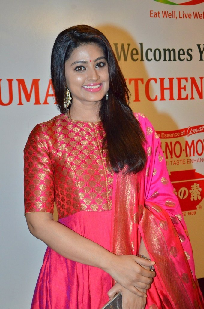 Beautiful Tamil Girl Sneha Long Hair Smiling Photos In Red Dress