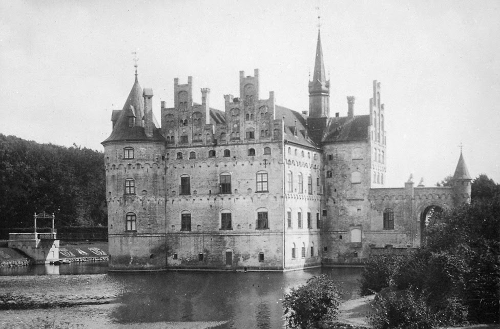 Egeskov Castle at Funen island, Denmark. Photo taken in 1881 by Swedish architect Helgo Zettervall who restored the castle in the 1880s.