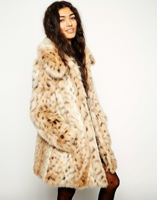 light leopard fur coat
