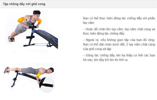 Các động tác cơ bản sử dụng ghế cong tập bụng