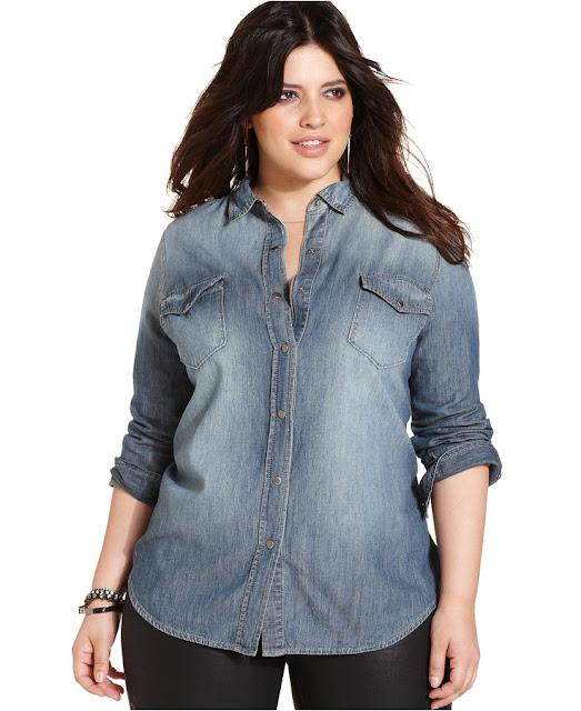 Model Baju Kemeja jeans Wanita Gemuk Tampak Langsing