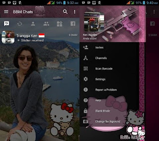 BBM Mod Hello Kitty Dark Style Change Background v3.2.0.6 Apk