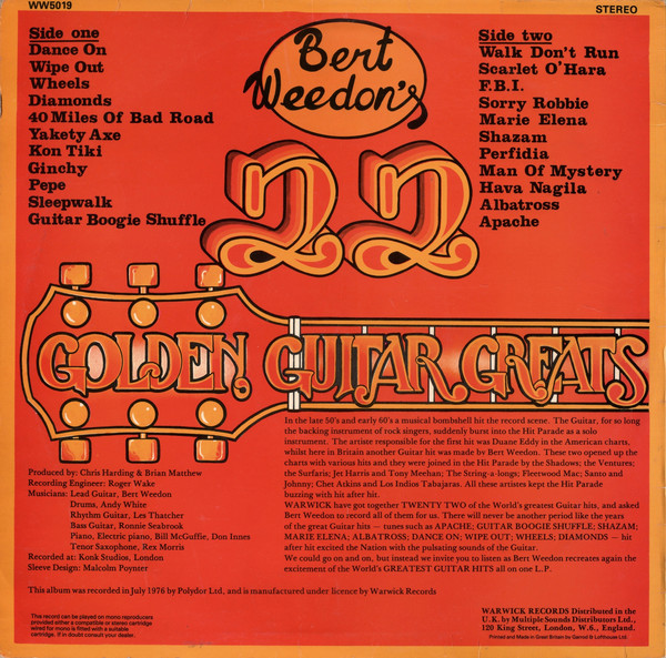 "Bert Weedon ""Bert Weedon's 22 Golden Guitar Greats"