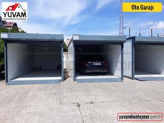 Konteynerden imal edilen otomobil garajı