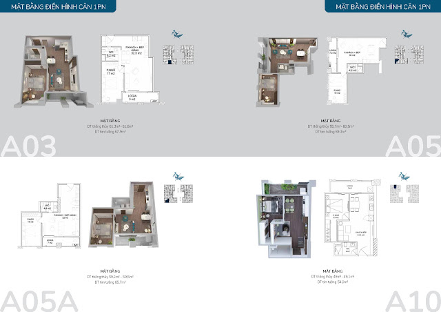 Thiết kế điển hình các căn hộ 01 phòng ngủ